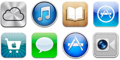 A number of icons representing apps which require the use of an Apple ID logon.