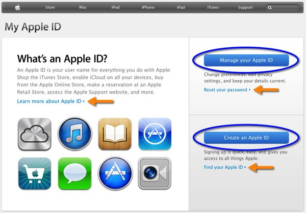 The appleid.apple.com web page.