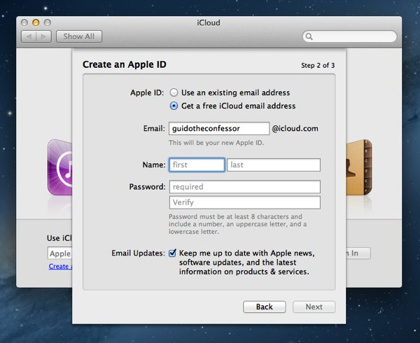 The Create an Apple ID panel accessible from iCloud Preferences.