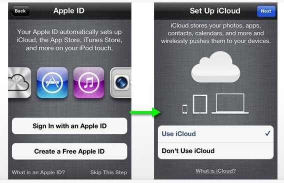 iOS set up screens for creating Apple ID and setting up iCloud.