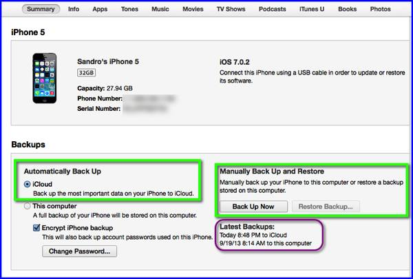 The iTunes 11 Summary panel for an iPhone 5.