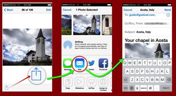 Three iOS7 screens from the Photos and Mail apps on an iPhone 5s.