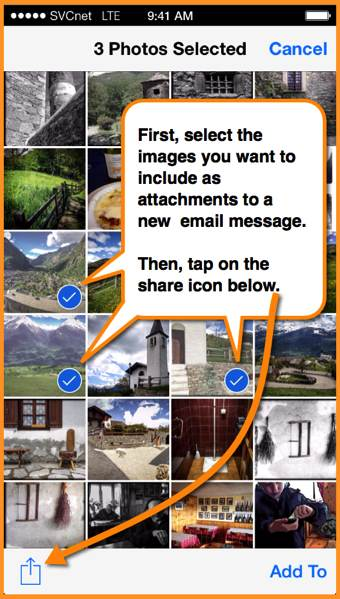 The image selection panel in the iOS Photos app.