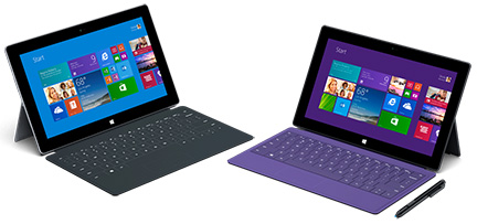 Microsoft's new Surface 2 (left) and Surface 2 Pro (right)
