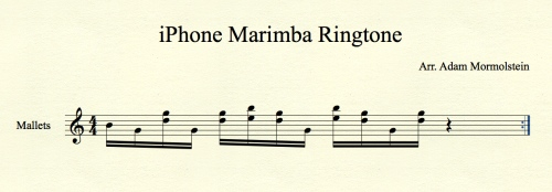 Sheet Music showing how the iPhone Marimba Ringtone is played