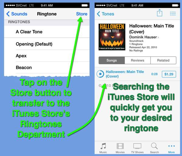 A pair of iPhone screens that show access to the ringtones department in the  iTunes Store.
