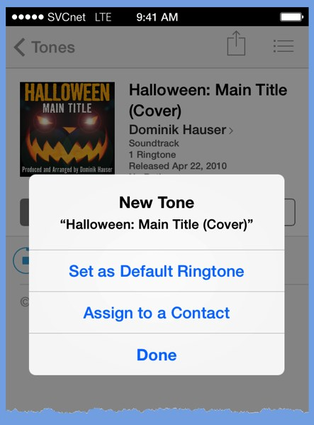 The iPhone�s iTunes Store panel after the purchase of a ringtone.
