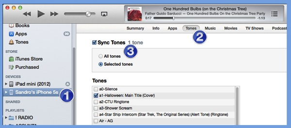 A detail from the iTunes app on a Mac or Windows PC.