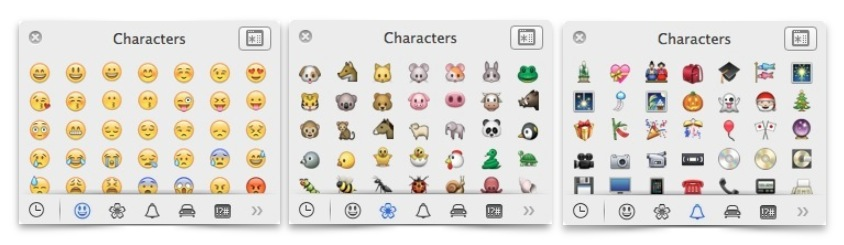 OS X Mavericks Emoji Symbol Window