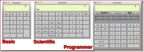 The three Calculator types side-by-side
