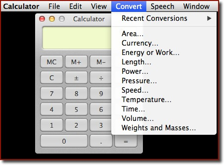 The Calculator and the Convert menu