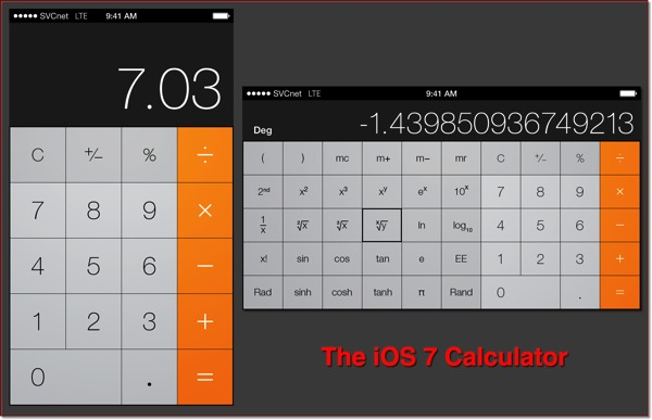The iOS 7 Calculator app in portrait and landscape modes