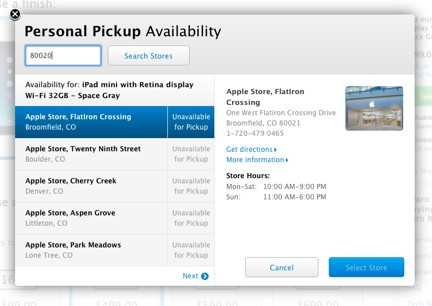 Apple is offering Retina iPad mini in store pickup, but good luck finding one