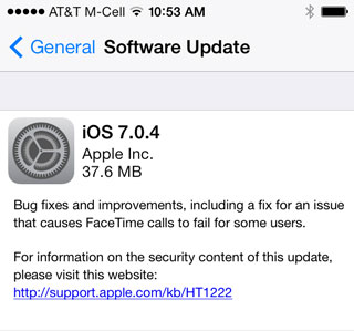 iOS 7.0.4 Release Notes