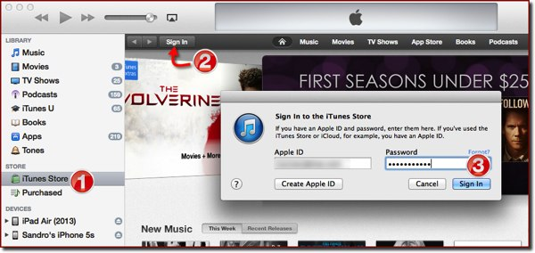 The Sign in to iTunes Store dialog