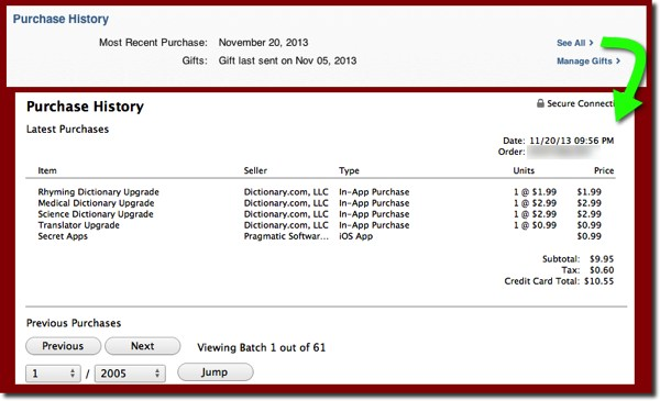 The Purchase History page from your iTunes Store Account page