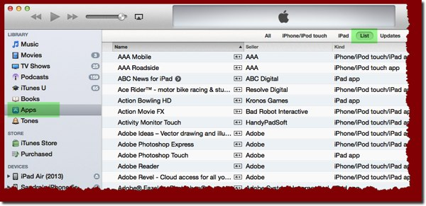 A detail from the Apps listing in your iTunes Library