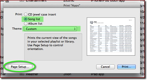 The iTunes Print dialog box