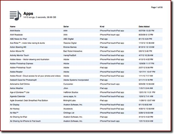 An example printout page listing apps
