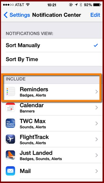 The Notification Center settings panel