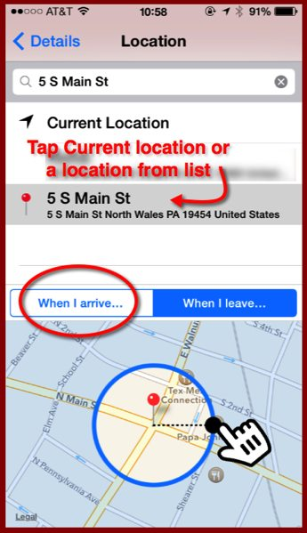The Location Details panel of a reminder