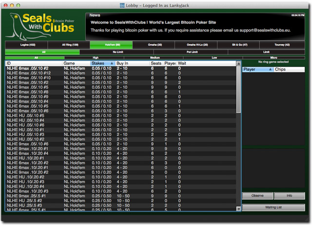 SealsWithClubs Hold 'Em Lobby