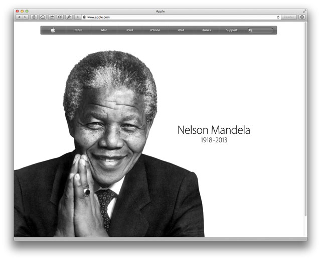 Nelson Mandela on Apple's Home Page