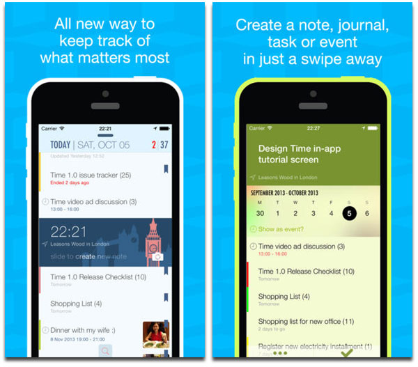 Time app for iphone lets you organize in a relative way for Cool way to arrange iphone apps