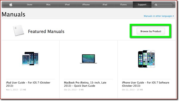 The Manuals page on Apple's support website