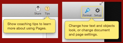 Details of Coaching Tips in Pages for OS X