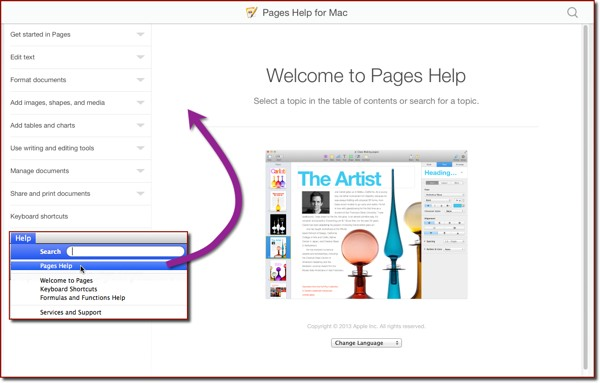 The Pages Help homepage on the Mac