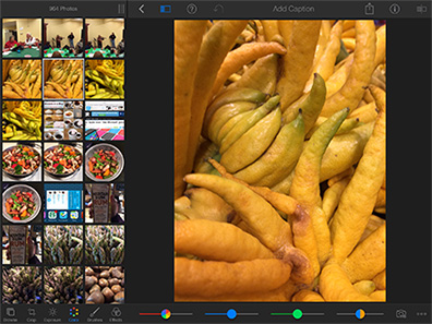 iPhoto for the iPhone and iPad includes plenty of image effects and printing options