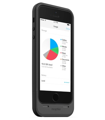 Mophie's Space Pack adds extra battery life and storage to the iPhone 5 and 5S