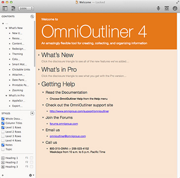 OmniOutliner 4 for the Mac: New interface, and Mavericks-only