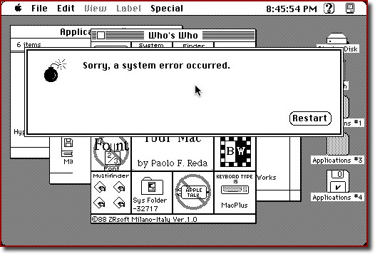 The old Mac System Bomb dialog box