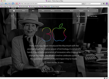 Apple gives the Mac a special 30th anniversary Web page