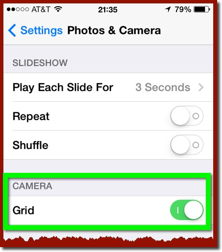 The Photos & Camera Settings panel in iOS 7