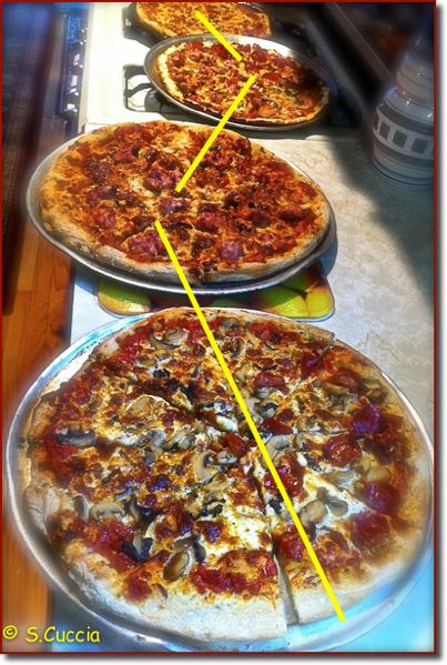 An iPhone photo of four pizzas using diagonal composition