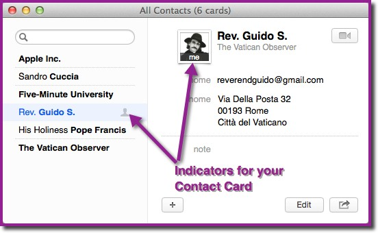 A Contacts app contact card