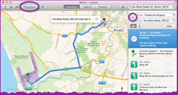 Maps app showing driving directions