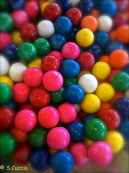 Colorful gum balls