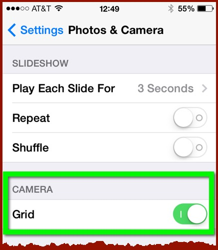 The Photos & Camera settings panel in iOS
