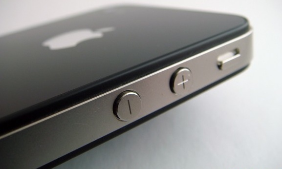 The side of an iPhone with volume up/down buttons