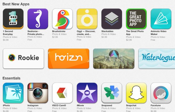 A detail from the App Store showing a selection of Photo apps