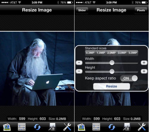 Resize Image Lets You Scale Images Quickly on iPhone