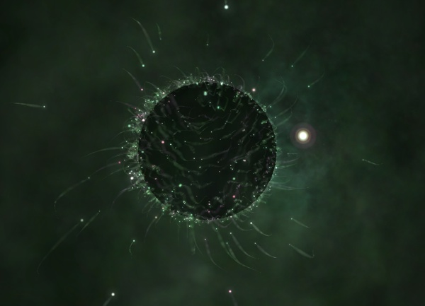 An example on-screen visualizer with a nebula cloud visible and enhanced