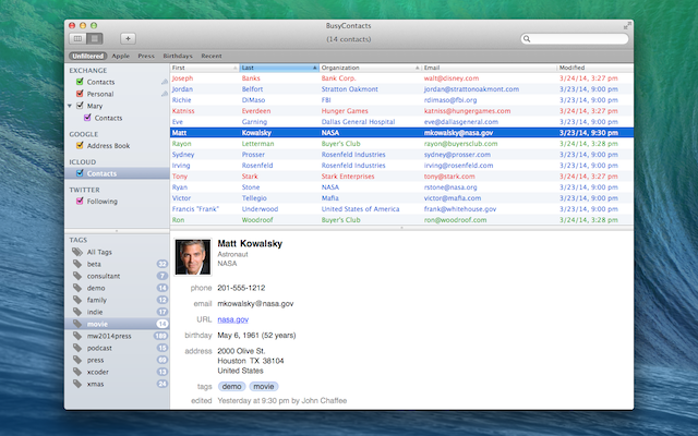 BusyContacts Multicolumn View