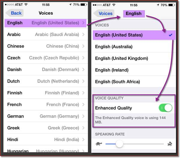 Two iOS screens from the Accessibility Settings and the Speak Selection Settings