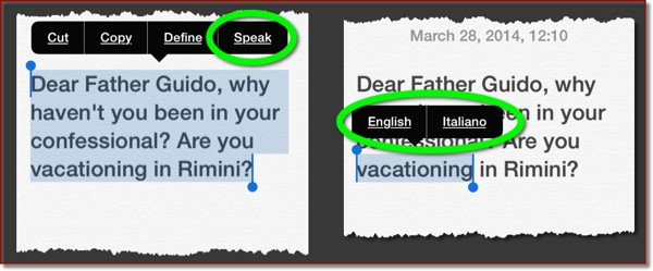 Selected text with options in popup screen including ones for speaking the selected text, including language support.
