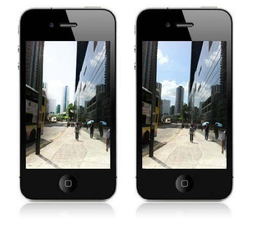 The Camera App on two iPhone screens